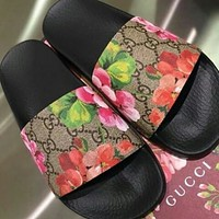 GUCCI New Double G Pattern Flowers Couple Style Home Slippers Sandals Shoes