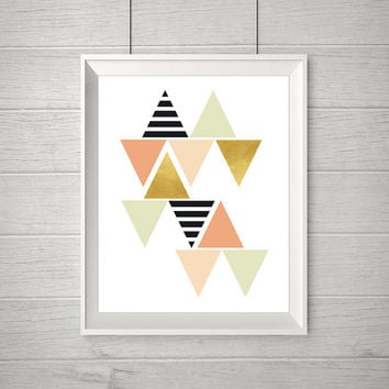 Geometric Wall Art, Black White and Gold Room Decor, Modern Nursery Wall Art, Geometric Print Art, Instant download (BabyArt E4-E5)