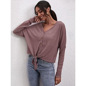 SHEIN Batwing Sleeve Knot Hem Waffle Knit Top