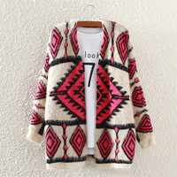 Women's Comfortable Ethnic Geometric Mohair Cardigan Sweater