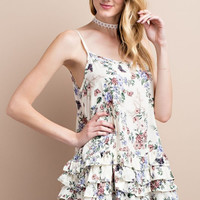 Soft Floral Ruffled Tunic Cami