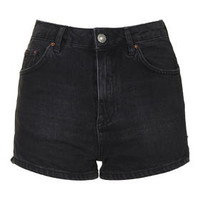 MOTO High-Waisted Mom Shorts - Washed Black