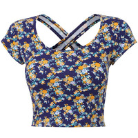Yellow Floral Print Cap Sleeve Back Crisscross Cropped Top