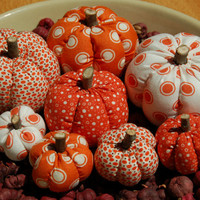Primitive Fall Orange & White Polka Dot Mixture Pumpkin Ornies, Different Prints
