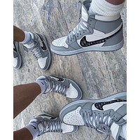 Dior x NIKE AIR Jodan 1 AJ1 mid ladies and men's hight help casual sneakers shoes