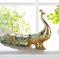 Golden Peacock Green and Turquoise Jeweled Dazzling Tealight Candle Holder