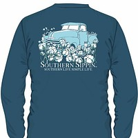 SALE Southern Sippin Simple Life Pigment Dyed Unisex Pocket Long Sleeve T-Shirt