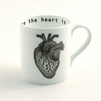 Home is where the Heart is Geometrical Heart Anatomical Mug Bone China Tea or Coffee Anatomy
