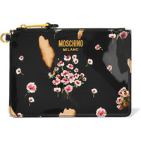Moschino - Printed patent-leather pouch