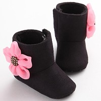 Lovely Winter Warm Baby Shoes Cotton Flower Infant Toddler Baby Boots Newborn Baby Girl Shoes Snow Booties First Walkers