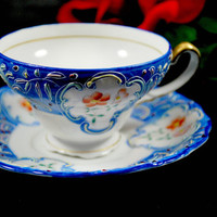 Tea Cup and Saucer , Occupied Japan , Porcelain  Moriage Blue and White Tea Set