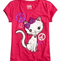 Cat With Bow Graphic Tee