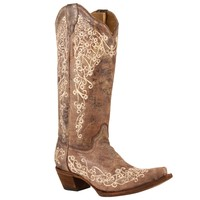 Corral Vintage Ladies Embroidered Boot (Tobacco/Bone) in Western Fashion Boots