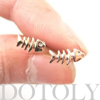 Small Fish Bone Fishbone Animal Stud Earrings in Rose Gold