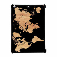 World Map On Wood Texture Print iPad Air Case