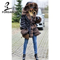 FURSARCAR Luxury New Real Fur Coat Women 80 CM Length Top Quality Winter Thick Warm Fur Parka With Fox Fur Trim Hood And Cuff