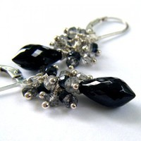 Black Spinel Earrings Rutilated Quartz Black Sapphire Sterling Silver