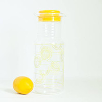 Vintage Tall Pyrex Citrus Pitcher with Lid, 40 oz, 1.5 QT Liter Lemon Print Juice Carafe with Measurements, Made in USA