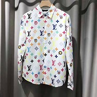 LV Louis Vuitton Newest Fashion Women Men Comfortable Print Lapel Shirt Top White(Multicolor Letter)