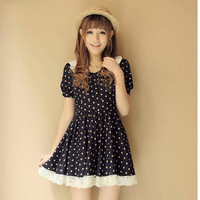 $ 11.99 Boutique Japanese Style Laciness Polka Dots Dress