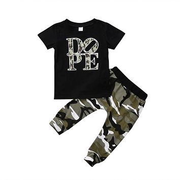 Pudcoco US Stock Newborn Baby Boy Clothing Short Sleeve Print Letter T-shirt Top + Camouflage Long Pants Summer Outfits Clothes