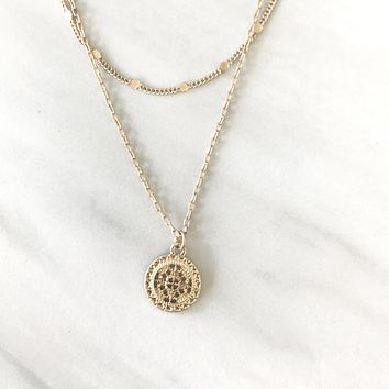 Legendary Medallion Gold Layered Necklace