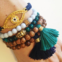 Blue Boho Bracelet Stack with Buddha, Evil Eye and Tassel Bracelets
