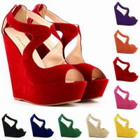 NEW ELEGANT LADIES PLATFORM PEEP TOE Velvet  HIGH HEELS WEDGE SHOES SANDALS SIZE US4-11 391-2VE = 5710695425