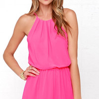 Hot Pink High Neck Pleated Romper