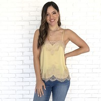 Place in Satin Camisole in Pale Yellow