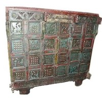 Antique Console Chest Rustic Tribal Animals Carved Maroon Blue Patina Indian Storage Trunk Sideboard Furniture