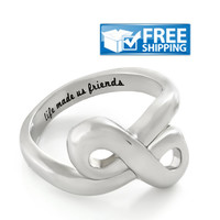 """Friend Gift - Infinity Friendship Ring Engraved on Inside with """"Life Made Us Friends"""", Sizes 6 to 9"""