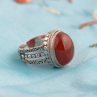 FNJ 925 Silver Round Rings for Women Jewelry Fashion Natural Red Stone Pure S925 Sterling Solid Thai Silver Ring Size 6-8