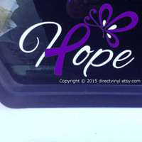 Hope With Purple Awareness Ribbon and Butterfly Decal (Epilepsy, Lupus, Cystic Fibrosis, Rett Syndrome, Craniosynostosis, Fibromyalgia)