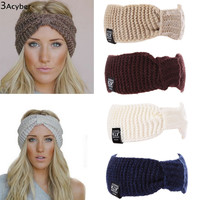 Knitted Turban Headbands For Women Winter Warm Crochet Headband Head Wrap Wide Ear Warmer Hairband Hair Accessories