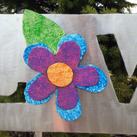 Metal Garden Art Yard Sign with Purple, Pink And Blue Metal Flower Love