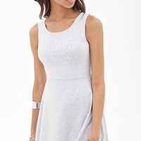 FOREVER 21 Oh Mon Dieu Fit & Flare Dress Heather Grey/White