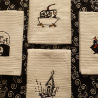 Nightmare Before Christmas Embroidered Towels Jack Skellington & Sally Zero Mayor YOUR CHOICE or Grab a Set! Nice Hand Size for Kitchen Bath
