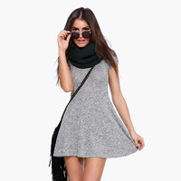 Gray Textured Short Sleeves Skater Dress