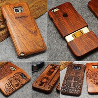 Wood Phone Case Laser Carved for Samsung and iPhone