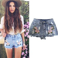 High Waist Jeans Short Femme Frayed Hole Shorts For Women