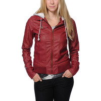 Volcom Motor On Red Faux Leather Hooded Jacket at Zumiez : PDP