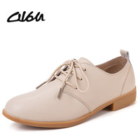 Women oxfords shoes ballerina Flats genuine leather Lace up moccasins Ladies Casual shoes white Black Beige Brown Blue Pink 888