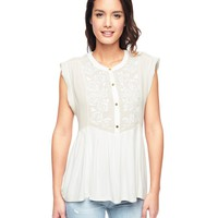 Mixed Fabric Embellished Applique Top by Juicy Couture