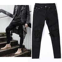 2017 Mens Ripped Jeans knee protection pants stretchy Cotton black Slim Fit Motorcycle elastic  Jeans Men Vintage Distressed