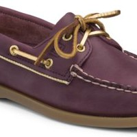 Sperry Top-Sider Authentic Original Metallic Piping 2-Eye Boat Shoe Wine/Gold, Size 8.5M  Women's Shoes