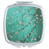Beautiful Floral on Teal Compact Mirror