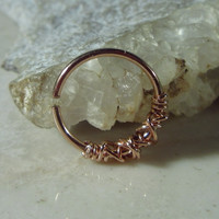 Daith Hoop Earrings Tangled Pink Gold with Pink Gold Single Endless