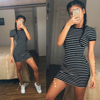 New Fashion Kylie Jenner Short Sleeve Black And White Striped Dress