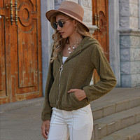 Fashion women's solid color big pocket zipper hooded Double sided down Mao Mao coat
